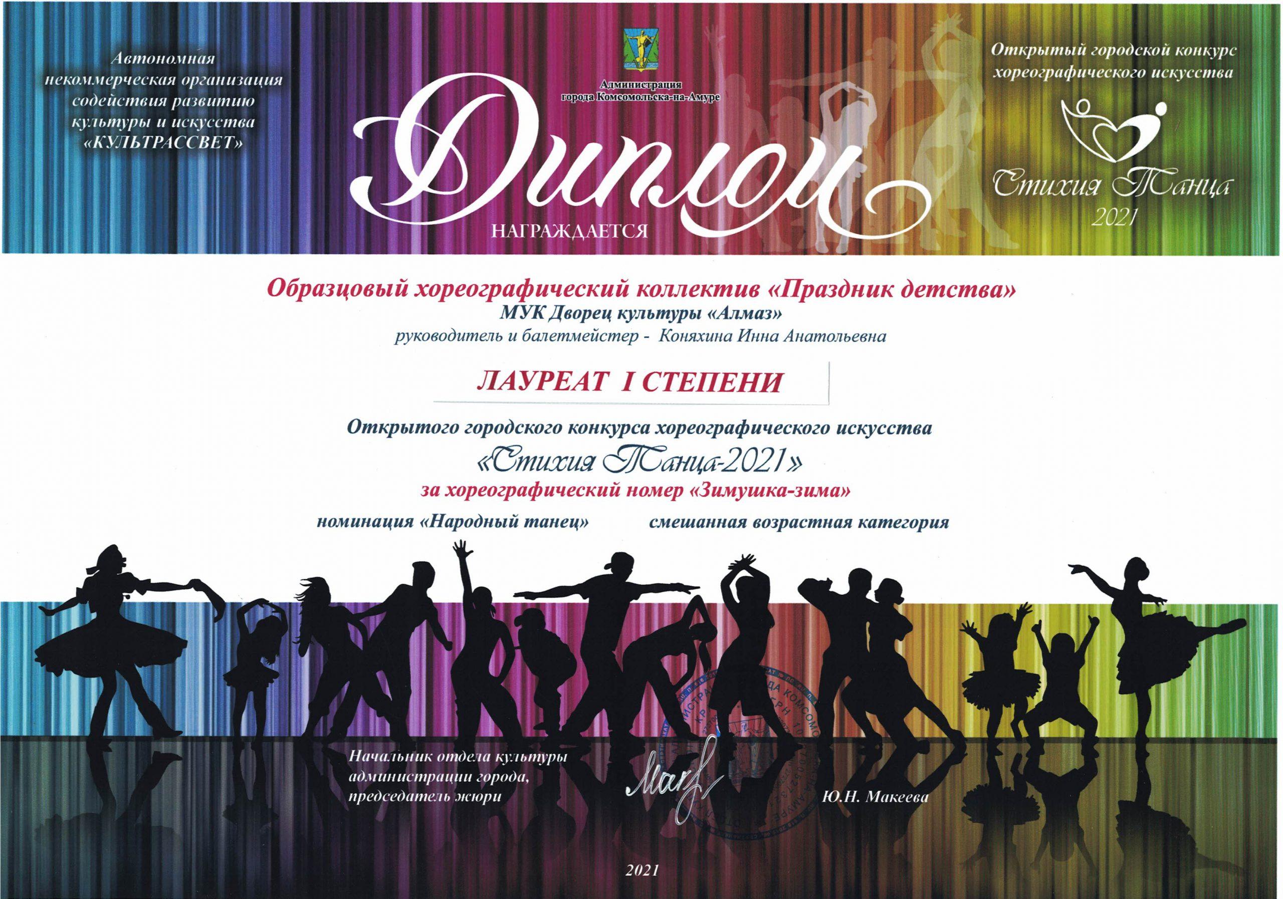 праздник детства 1 место стихия танца 2021 г.